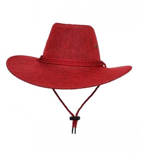 COMVIP Unisex Adult Cotton Adjustable Cycling Cowboy Hat - Red - C9182IQ9UCC