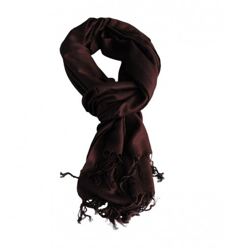 Anny's Super Soft Bamboo Fiber Solid Pashmina Shawl Wrap with Gift Bag - Brown - C011UCZVDKB