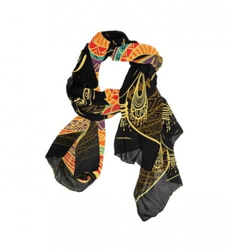 DEYYA Women's Silk Scarf Scarves African Art Women Beach Sunscreen Shawl Wraps - CP187EAAA2G