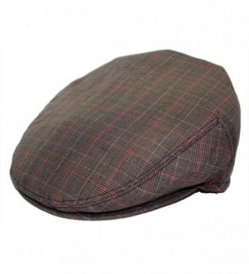 Mens Plaid Golfing Beret Summer Flat Ivy Ascot Cabbie Cap Hat Ivy Newsboy - Brown-Check-Red - C511UCMF2WT