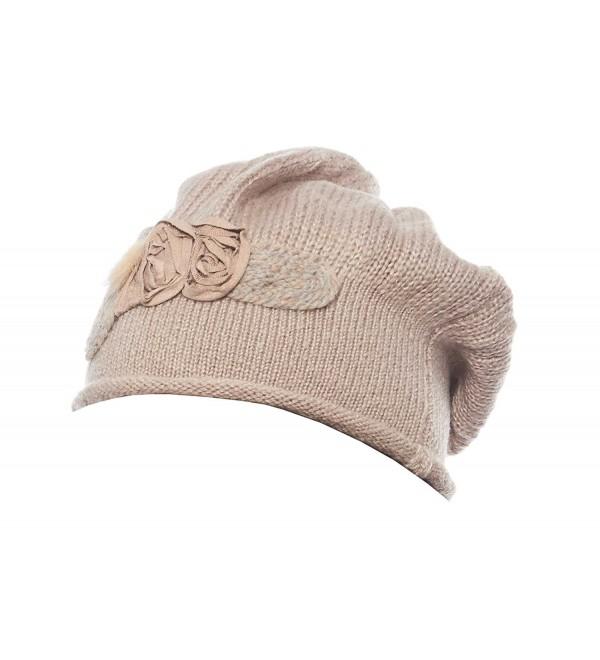 Lidiya Knit Winter Hat for Ladies - Beige Floral - C212LLYX791