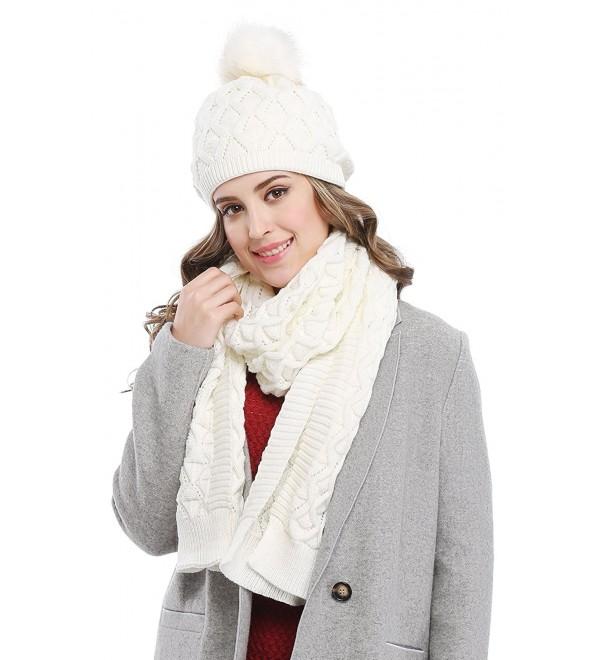 Bellady Women's Knitted Double Layers Beanie Cap with Pom Pom- Scarf Two Peice Set - White - CN12MBWLATZ