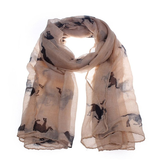 DaySeventh Fashion Women Running Horse Print Long Scarf Shawl Wrap - Coffee - C811T8QOZIH