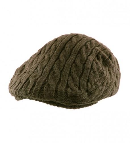 Morehats Crochet Knit Newsboy Cabbie Cap Golf Driving Gatsby Hat - Olive - CV11NF6PNRD