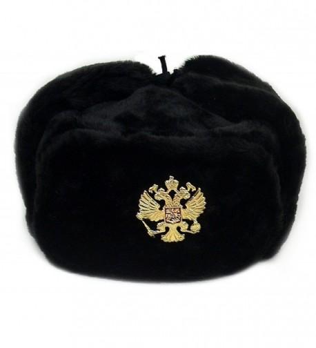 Russian Army KGB Military Fur Hat Ushanka *BLACK-XL* w/Imperial Eagle Crest Badge - CF11BQ9HIZB