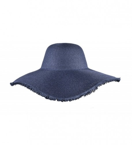 Womens Summer Floppy Hats Beach Wide Brimmed Ladies Hat Straw Sun Hats - Navy Blue - C317XWTHUCR
