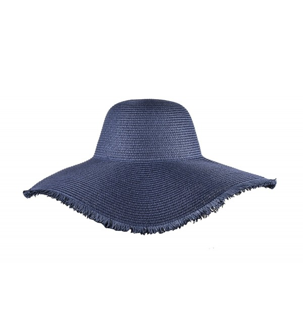 951aae9d Womens Summer Floppy Hats Beach Wide Brimmed Ladies Hat Straw Sun Hats -  Navy Blue -