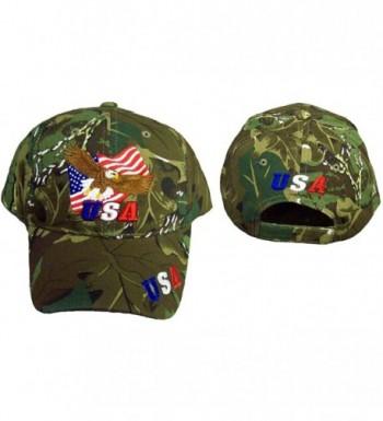Patriotic Baseball Cap Camo Bald Eagle USA Hat American Flag - CA11VZC9EGZ