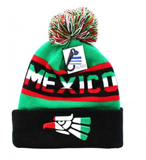 9af14f1d05a Mexico Beanie Pom Pom Ski Winter Cap Hat Cuff Urban wear Mexican Eagle  Soccer MX -