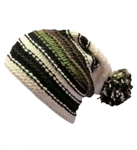 Luxury Divas Multicolor Striped Knit Slouchy Beanie Hat - White - CG117KA6T4P