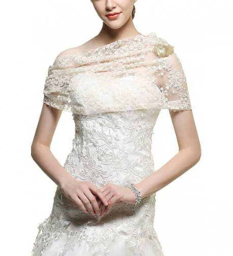 Amy's Accessory Women's Lace Party Cardigan Shawls Brooch C37Amy - Ivory - CL12J288AWV
