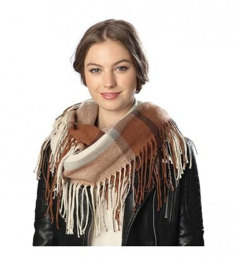 Women's Winter Plaid Multi Pattern Infinity Scarf with Brooch. - 6020-beige - CF12N0JC0ET