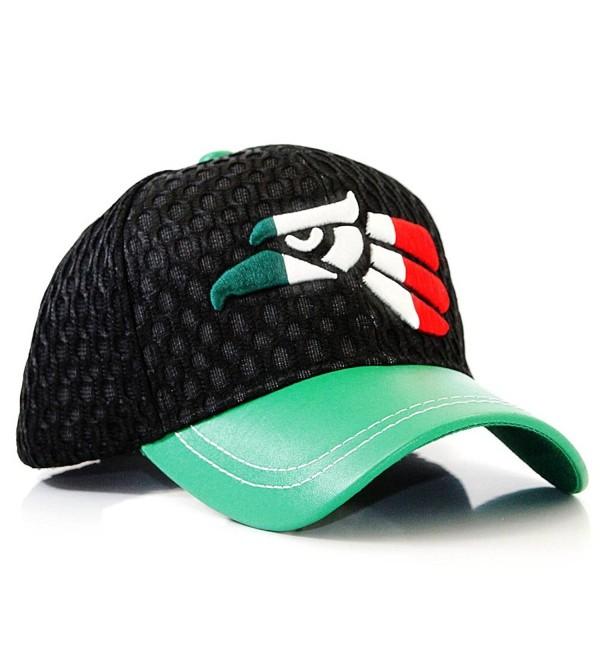 Mexico Flag Eagle Symbol 3D Embroidered Mesh Velcro Adjustable Baseball Cap Hat - Black - CF12I8AKDSD