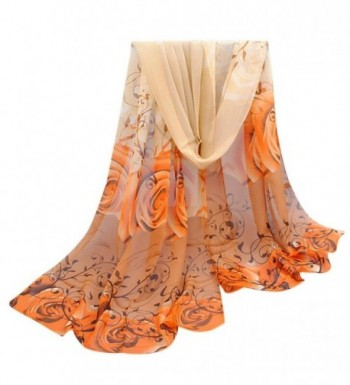 LEERYA Women Beautiful Rose Pattern Chiffon Shawl Wrap Wraps Scarf Scarves - Yellow - CS12LUMNQ9Z