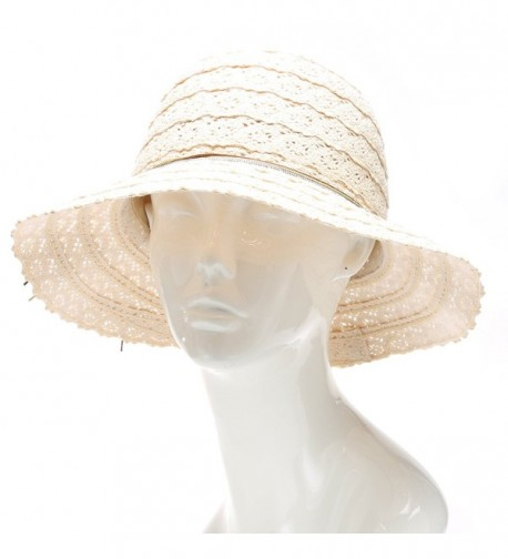 MIRMARU Women's Summer Crushable Vented Mid Brim Beach Fedora Hat With Cord Tie. - Natural - CU17YCRK2ON