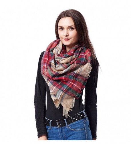 Moxeay Fashion Women Warm Long Blanket Oversized Tartan Scarf Pashmina - 2 - C111V6UUFA9