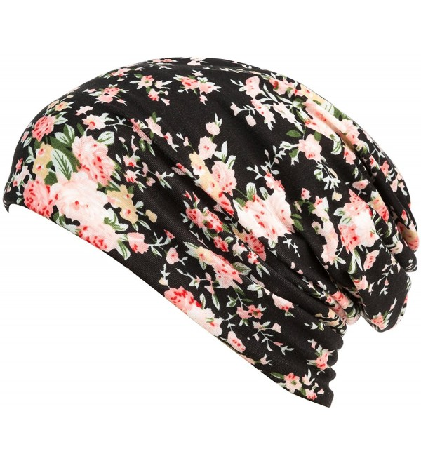 HONENNA Printed Turban Headband Chemo Cap Cotton Soft Sleep Beanie - Black - CD180LD70LD