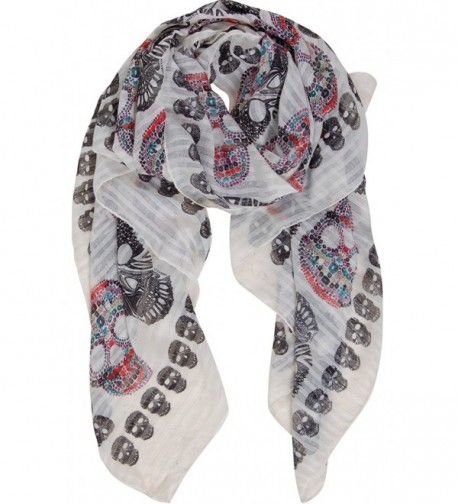Humble Chic Sugar Skull Scarf - Long Oversized Lightweight Printed Shawl Wrap - Ivory - CH183D4OSSK