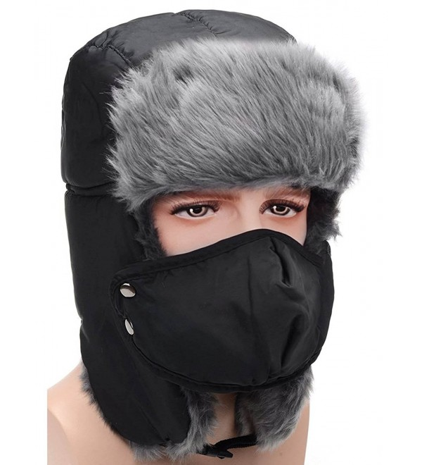 HindaWi Winter Hat Windproof Mask Ushanka Trapper Hats For Men and Women - Chin Strap (Black) - CA185ESMAEU