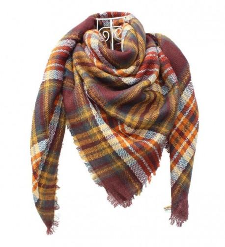 DH.M Blanket Scarf Women Big Square Long Scarves Warm Tartan Checked Shawl - A8 - C61874O8L93
