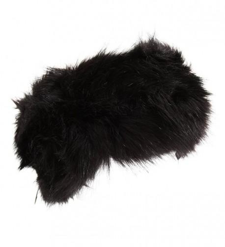 Womens/Ladies Thermal Faux Fur Headband - Black - CP11Q5QSFIJ