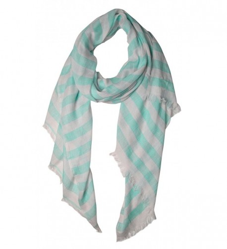 Peach Couture Lightweight Sailor Nautical All Seasons Striped Scarf Wrap Shawl - Aqua & White - CL11IV07B8R