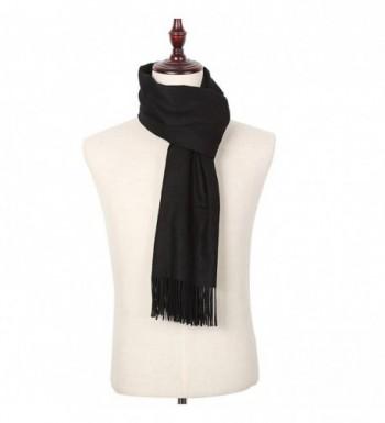 Women Large Cashmere Scarf Warm Shawl Wrap Cape Poncho Blanket Twill Pashmina - Black - CJ187G566W4