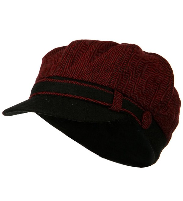 Wool Blend Herringbone Newsboy Cap - Red - C4110J6H573