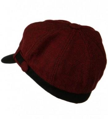 Wool Blend Herringbone Newsboy Cap