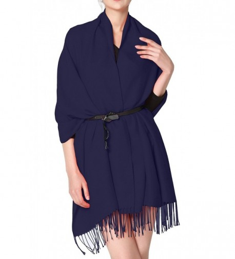Cashmere feel scarf wraps shawl warm plain long scarf for women soft oversized pashmina scarf - Navy Blue - CE1887OC7T8