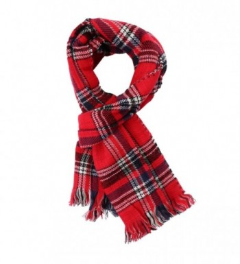 UTOVME Women Double Side Plaid Blanket Tartan Striped Cashmere Scarf Cape Shawl - Red - CT1867EZRT8