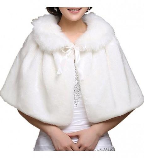 Chickle Women's Fur Collar Lace Up Cape Cloak Wedding Shawl White - C4127V5KR97