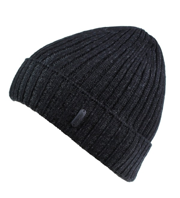 Connectyle Classic Men's Warm Winter Hats Thick Knit Cuff Beanie Cap With Lining - Black - C712MRGYO67