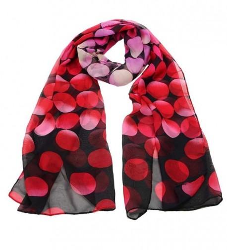 Women Chiffon Dotted Print Scarves Wraps Vovotrade - Red - CS1293FTKSH
