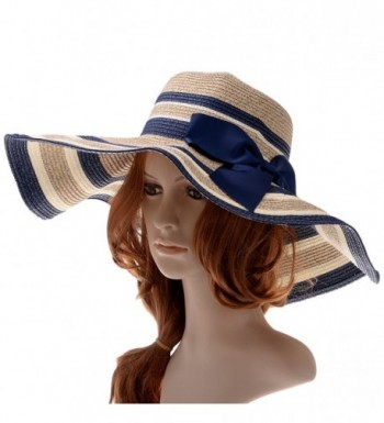 VBIGER Womens Beachwear Sun Hat Big Bowknot Straw Hat Wide Brim Hat Stripe Floppy Hats - Azure - C911YNIIXMJ