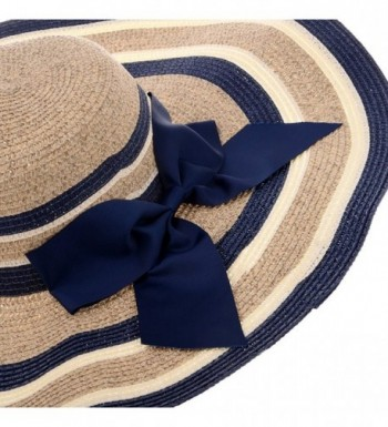 Vbiger Bowknot Mixed color Stripe Floppy in Women's Sun Hats