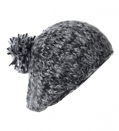 Cute Slouch Beanie Beret Hat w/ Pom- Classic Vintage Chunky Knit Style Cap - Black Gray Mix - CF11QFXS0BJ