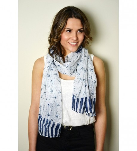 Nautical Navy Blue Anchors Scarf Wrap Shawl - CP11YJR4RP1