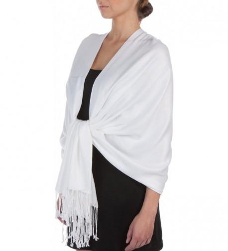 "Sakkas 78"" x 28"" Silky Soft Solid Pashmina Shawl / Wrap / Stole - White - C1113YYZX21"