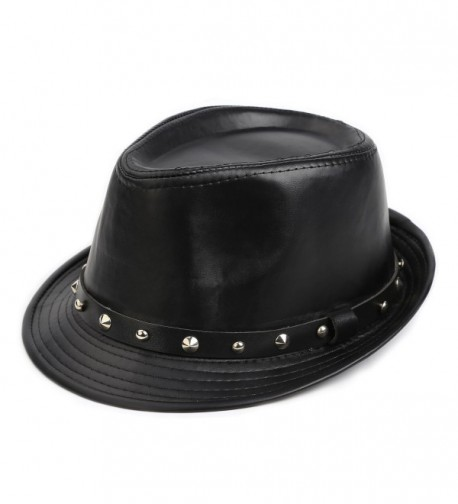 Fedora Hat - Elegant Men's Wool Herringbone Band Classic Winter Hats - Black - CX186DT4RRI