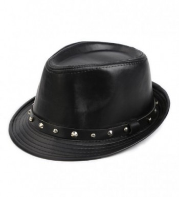 Fedora Hat - Elegant Men's Wool Herringbone Band Classic Winter Hats - Black - CX186DT4RRI