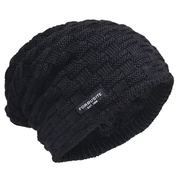 eb4eb85ab0d VECRY Men Knit Beanie Hat Thick Fleece Lined Winter Skull Cap B5050 -  Check-black