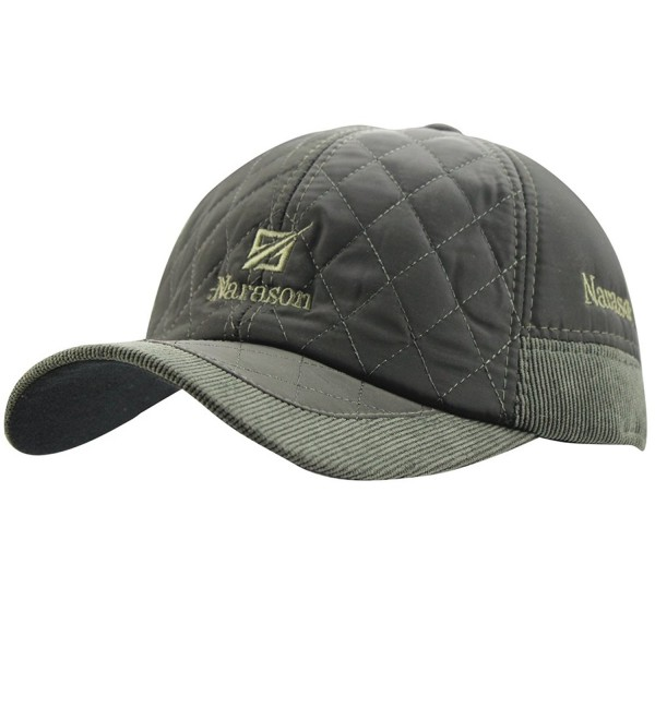 Men's Warm Cotton Padded Quilting Plaid Peaked Baseball Hat Cap with Ear Flap - Army Green - C31885I9R8T