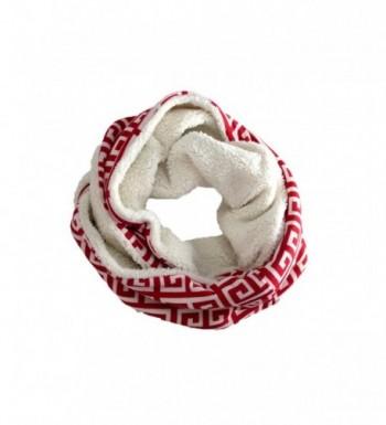 Modadorn Sherpa Lined Greek Key Pattern Infinity Scarf - Red - CM121D8ID67