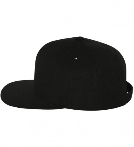 Original Yupoong Pro-Style Wool Blend Snapback Snap Back Blank Hat Baseball Cap 6098M - Black - CZ1181RMR7P