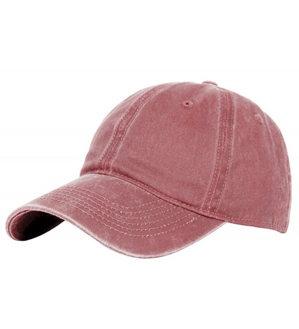 Glamorstar Classic Unisex Baseball Cap Adjustable Washed Dyed Cotton Ball Hat - Red Wine - CV183D9H79Y