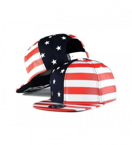 Flag Snapback Hat Cap Color Matching Flat Brim Hip-hop Cap - Red - C111OUVV353