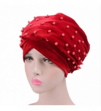 Helisopus Women's Luxury Velvet Turban Headband Pearl Pleated Long Head Wrap Hijab Tube Scarf - C51887O3DT7