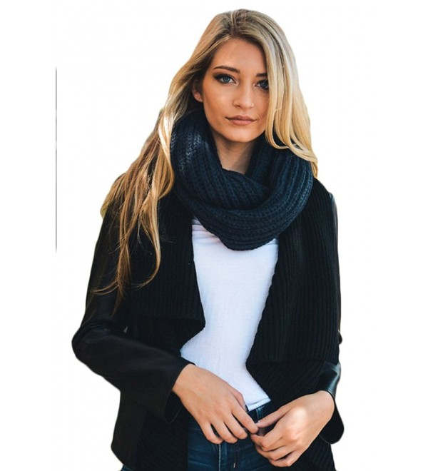 Aris Womens Thick & Chunky Chic Cable Knit Infinity Bundle Scarf & Bag - Navy - C412O4XFQ0T