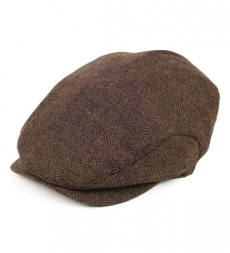 Jaxon Hats Square Bill Herringbone Ivy Cap - Brown - CE11HRY0ARV